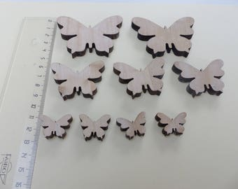 9 butterflies in natural wood blank 3 different sizes