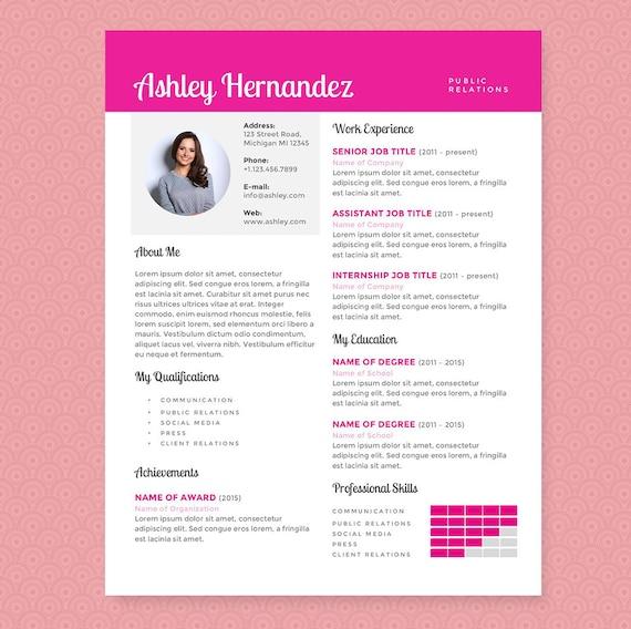 Curriculum Vitae rosa brillante y plantilla de carta de