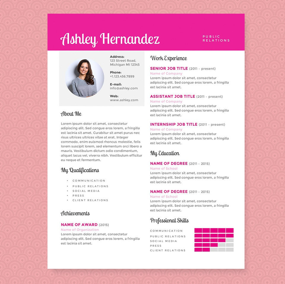 Bright Pink Resume & Cover Letter Template Clean Template