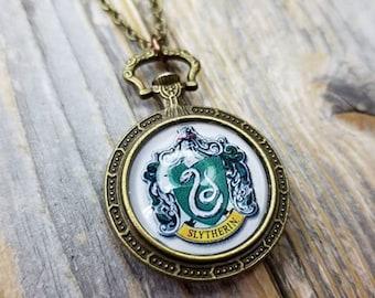 Slytherin Crest House Clockwork Locket Victorian Steampunk Vintage Style Necklace - Fandom - Harry Potter - Draco Malfoy - Voldemort
