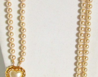 Gorgeous Joan Rivers Double Strand Hand Knotted Pearl Necklace Heart Clasp
