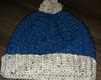 Puff Beanie Hat with Pom-Pom