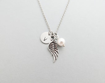 Angel Wing Initial Necklace Personalized Hand Stamped - with Silver Angel Wing Charm and Custom Bead