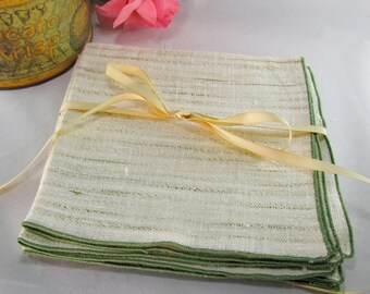 Tweed Heavy Linen Dinner Napkins, Cream With Green Trim, Vintage Set 4
