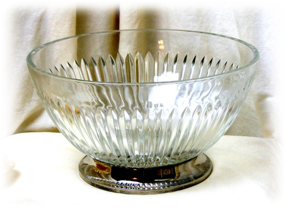 Beautiful Heavy Glass Bowl on a Silver Base