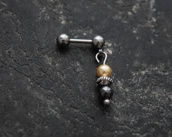 Gold & Black Crystal Pearls 18g , 16g , or 14g (1mm , 1.2mm , 1.6mm) Cartilage Ear Stud Barbell Piercing Jewelry