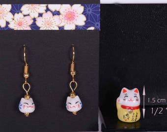 Lucky Cat Earrings plus mini Japanese Manekineko for your purse  - Earrings plus mini Yellow cat