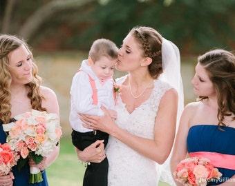 Light Coral Chevron Bowtie and Suspender Set for Boys - Salmon Suspenders - Wedding Ring Bearer - Photo Prop - Cake Smash- Baby Toddler Boys