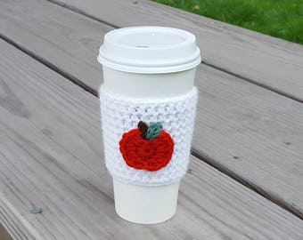 Apple cup cozy, back to school, coffee cup cozy, cup cozy, crochet cup cozy, gift for teacher, coffee cup sleeve, teacher cup cozy, crochet