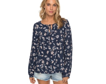 Roxy Everybody Up - Long Sleeve Blouse, Blue with a floral pattern