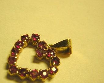14KT Gold Ruby Heart Pendant Genuine Natural Rubies Vintage 80s