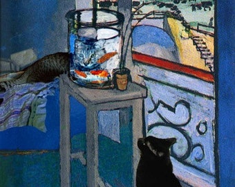 Blank Note Cards, Henri Matisse Goldfish, Cat Greeting Cards, Notecard Set, Cat Art, Stationery, Deborah Julian