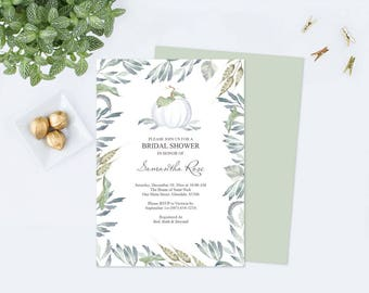 WHITE PUMPKIN Bridal Shower INVITATION Customizable pdf Template, Fall Invitation, Fall Bridal Shower Autumn Greenery Invite, White Pumpkins