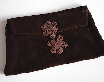 Chocolate Brown Velvet Vintage Evening Clutch Envelope Style With Frog Closure – Special Gift for Mother's Day or Perfect For Prom