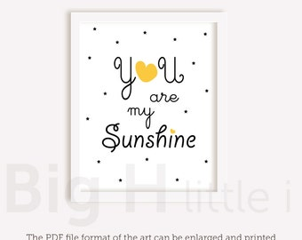 You Are My Sunshine Printables / Childrens Nursery Decor /  Kids Room Decor / Wall Art / Instant Downloads