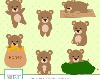 Teddy bear clipart , Bear  clipart, vector graphics, honey clipart, digital clip art, digital images -  CL 044