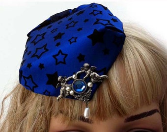 Celestial Angel Royal Blue Velvet Flocked Fascinator Hat with Pearls and Faux Sapphire and Pearls