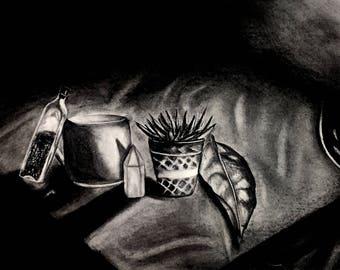 Charcoal Still Life Drawing Print
