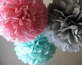 20 Tissue Pom Poms - Your Color Choice - Sale