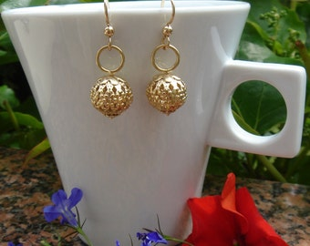 Gold Earrings, 585 goldfilled Oriental style