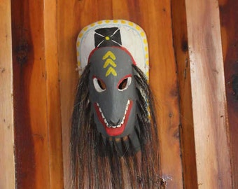 Mexican Yaqui Folk Art Carved Wood Mask with Horsehair