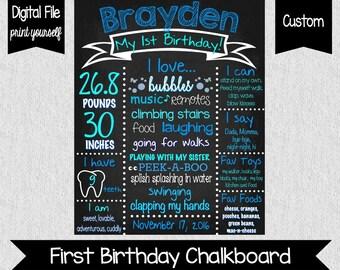 Boy's First Birthday Chalkboard Sign - DIGITAL - Blue First Birthday Poster - First Birthday Chalkboard - Cake Smash Photos