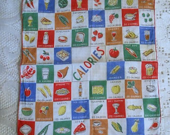 CALORIE COUNTER At A Glance Linen HANKIE Artichokes to Martinis to Lobster, Bright Colors Red Hems, 1960s Too Cute Handy Diet Aid Kitsch Fun