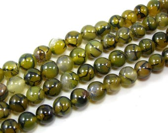 Green set 8 mm dragon vein agate bead 4
