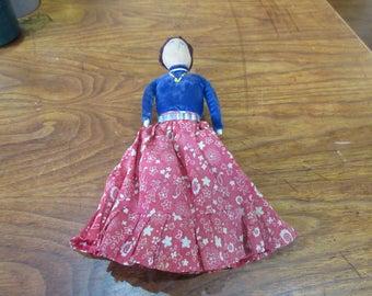 """Navajo Cloth Doll w/ Red Dress.  Ca.1950  10"""" tall"""