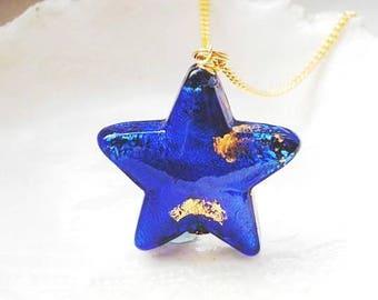 Cobalt Murano Glass Star Necklace