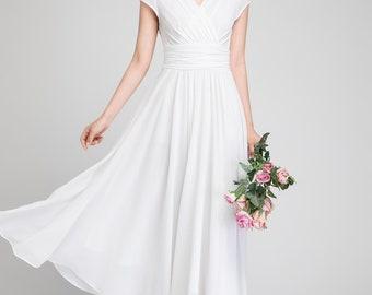 white chiffon dress, prom dress long, woman dress, white dress, summer dress, white prom dress, elegant dress, white cocktail dress 1877