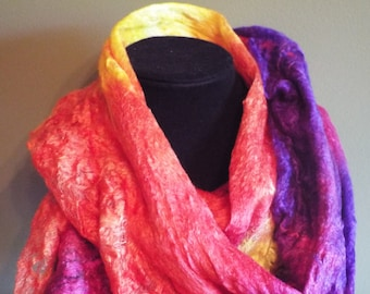 Silk/Merino Wet Felted Scarf - Poppy Colored