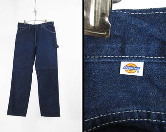 Vintage Dickies Denim Jeans Flannel Lined Painter's Pants Dark Jeans Made in USA - 36 x 32