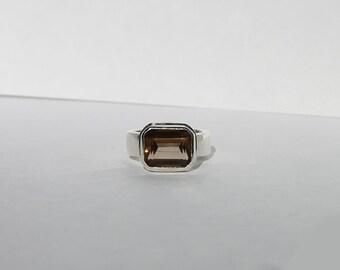 Vintage Sterling Silver Smokey Quartz Ring, Silver Quartz Ring