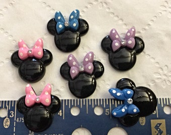6 Mouse Ears, Resin Fatbacks, Cabochons