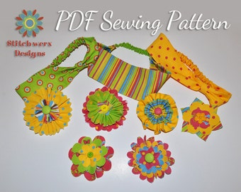 Girl's Headband Sewing Pattern, PDF Pattern, Fabric Flower, Hair Accessory, Girl's Sewing, Easy PDF Pattern