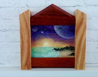 """Original Miniature Painting, """"Planetscape"""", Acrylic on Canvas, Custom Exotic Hardwood Frame"""