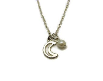 Silver Moon Necklace Crecent Moon Necklace Glass Pearl Birthstone Necklace Moon Jewelry Lunar Half Moon Necklace