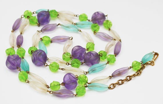 Trifari Lucite Bead Necklace-  purple pink blue and frosty white - clear beads necklace - 48 inch long