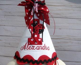 ladybug hat Red ladybug party hat, first birthday hat,  smash cake hat, birthday hat,  2nd birthday, red lady bug birthday, ladybug birthday