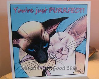 Siamese Cat art painting Valentine's card sealpoint lilacpoint from original painting by English artist Suzanne Le Good