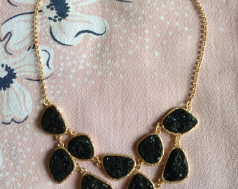 Statement Bib Necklace Faux Druzy