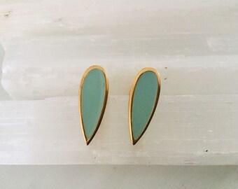Estate Modernist Gold Tone , Enamel Soft Green  Clip-on   Earrings