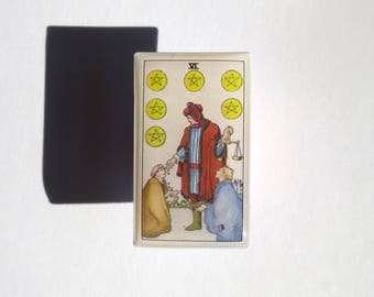 Handmade Tarot Card Pin  — Six of Pentacles