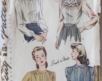 Vintage 1940s Secretary Blouse Simplicity 4556 Peter Pan Collar Jabot Sewing Pattern Bust 34