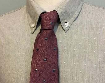 ON SALE Dusty Pink/Blue/Teal Dot Pattern Men's Italian Silk Tie by Christian Dior c1970s