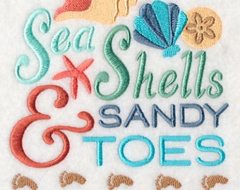 Sea Shells and Sandy Toes Embroidered Flour Sack Hand/Dish Towel