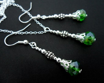 A hand made green crystal bead  necklace and  earring set.