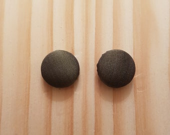 Military Green Button Earrings