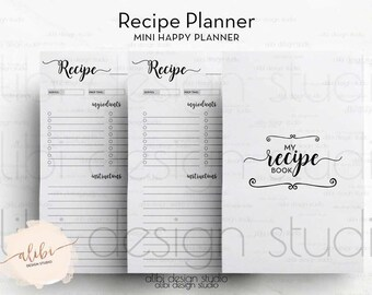 Recipe Planner, Recipe Book, MINI Happy Planner, Recipe Journal, Recipe Binder, MINI MAMBI, Create 365 Me & My Big Ideas, Mambi Recipe Cards